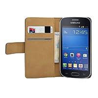 Membrane - Nero Portafoglio Custodia per Samsung Galaxy Fresh (GT-S7390 / Trend Lite / S7392 Duos) - Wallet Flip Case Cover + 2 Pellicola Protettiva