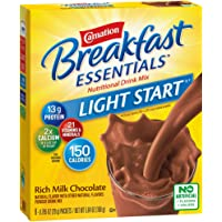 Carnation Breakfast Essentials Light Start Powder Drink Mix, Rich Milk Chocolate, 8 Packets (Packaging May Vary)