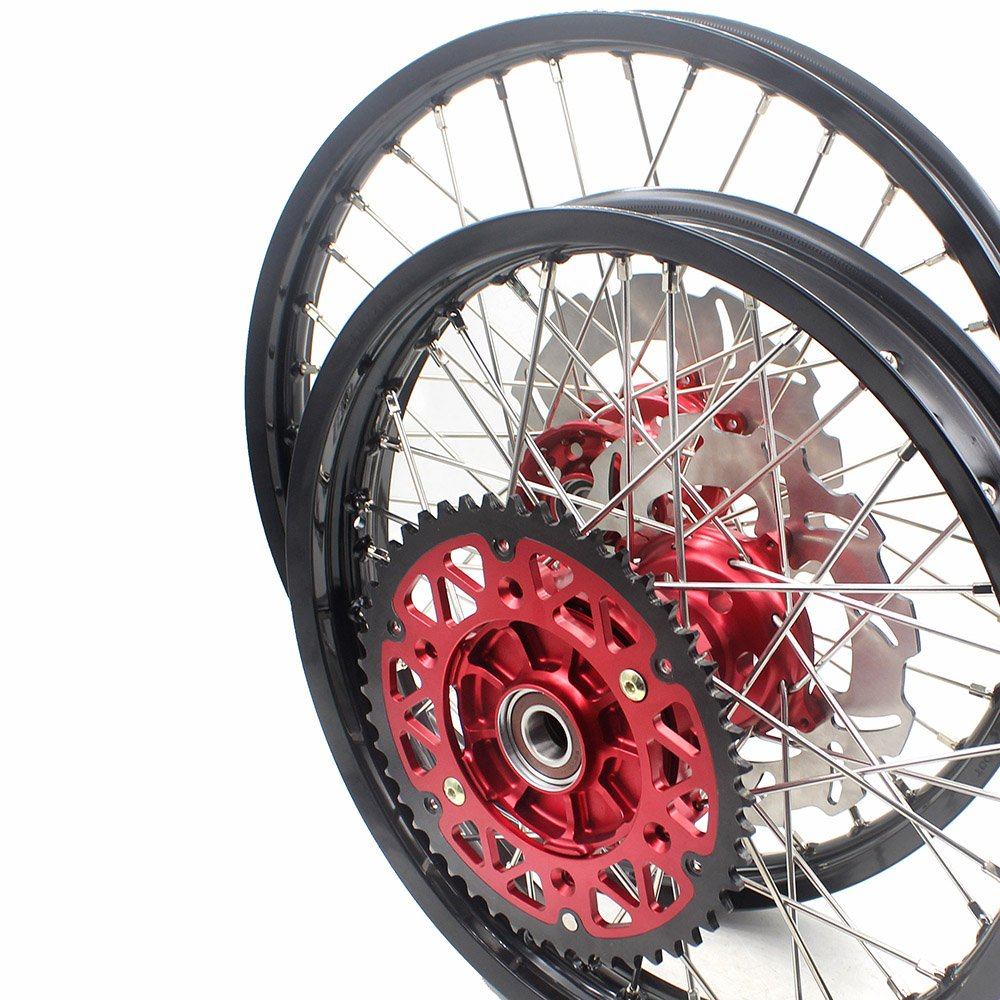 KKE HONDA ENDURO CNC CUSH WHEELS RIMS SET 21/18 CRF450R 02-12 CRF250R 04-13 Red Hub With Disc And Sprocket