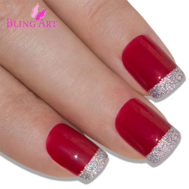 Uñas Postizas Bling Art Rojo Plata Resplandecer 24 Squoval Medio Falsas puntas acrílicas con pegamento: Amazon.es: Belleza