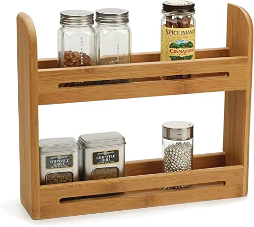 RSVP International BOO-SR Bamboo Spice Rack, 12 x 2.75 x 10.25 Holds 12 RSVP 3 Ounce Spice Jars Eco-Friendly, Sustainable Natural Bamboo Use on Counter or Mount on Wall Cabinet