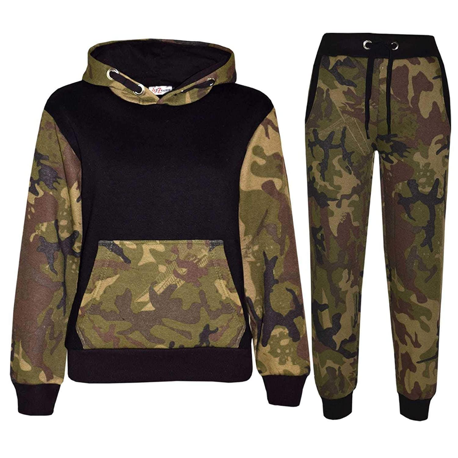 Kids Sports Military Camouflage Hododied Tracksuit 2 piece Contrast