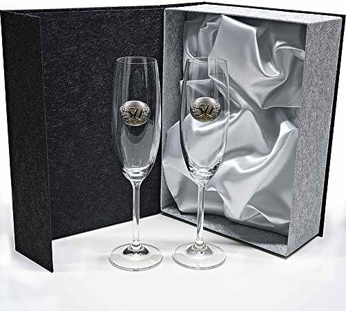 la galaica | Juego de 2 Copas para Champagne o Champán de Cristal | Regalo Ideal para Bodas de Oro, Plata, 25 o 50 Aniversario | Colección Gastro | Aplique Bilaminado: Amazon.es: Hogar