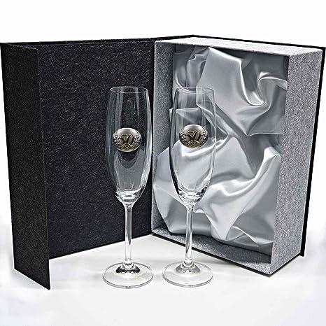 Set/Estuche de 2 Copas de champán para Novios, Bodas de Plata/Oro, Aniversarios, colección GASTRO-50 Aniversario, Aplique bilaminado.