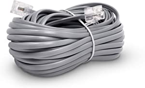 Phone Line Cord 100 Feet - Modular Telephone Extension Cord 100 Feet - 2 Conductor (2 pin, 1 line) Cable - Works Great with FAX, AIO, and Other Machines - Grey