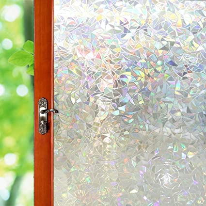 Amazon 3d Decorative Window Film Transparent No Glue Sticker