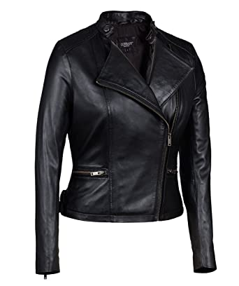 Black Asymmetrical Genuine Leather Jacket Womens - Soft Lambskin ...