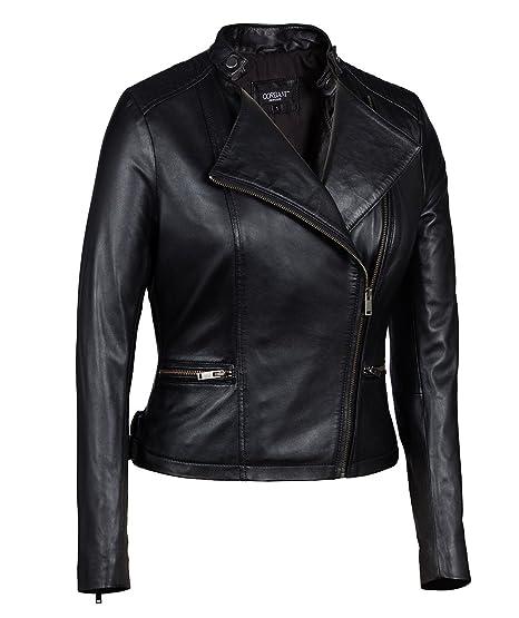 Corbani Genuine Womens Asymmetrical Scuba Leather Jacket Small