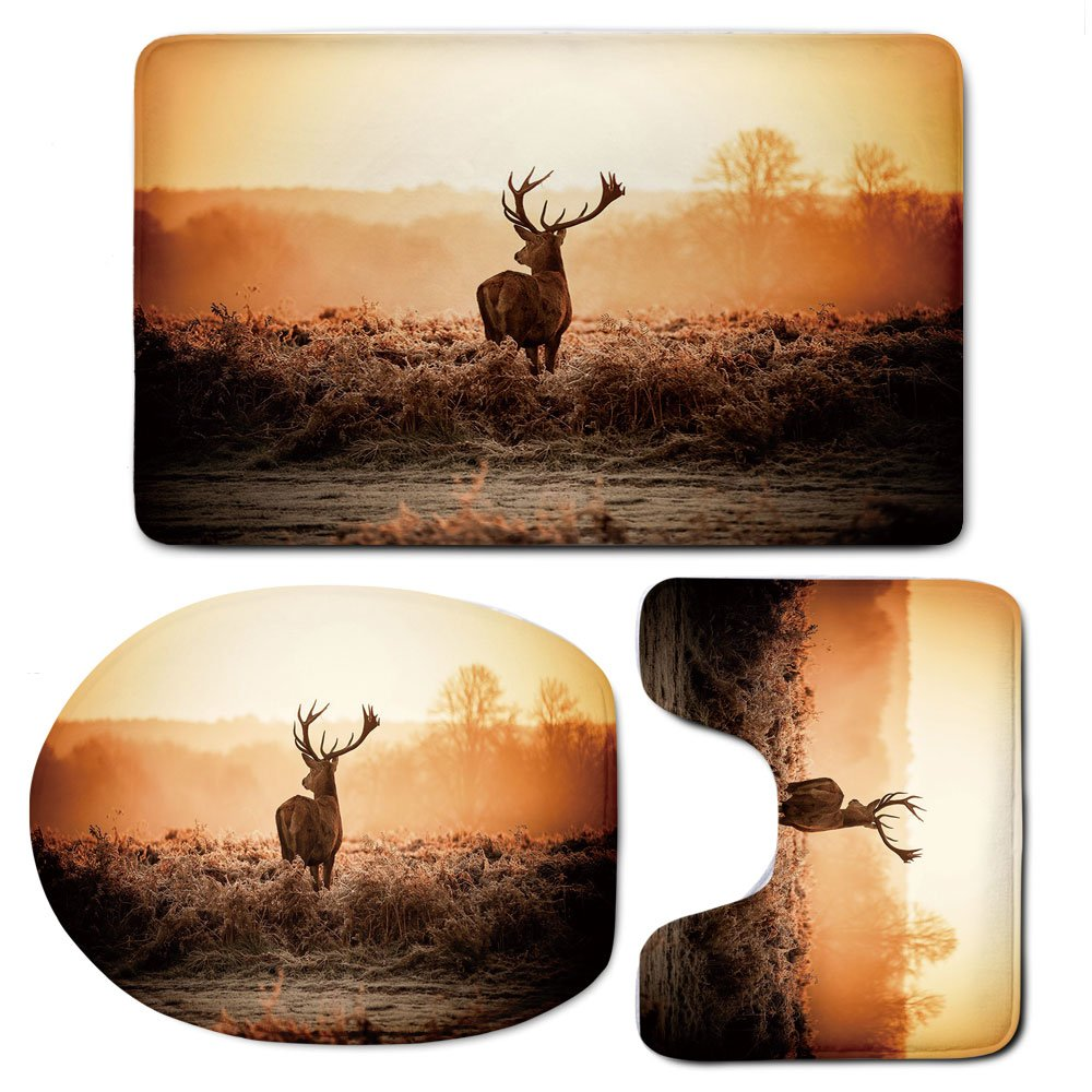 3 Piece Bath Mat Rug Set,Hunting-Decor,Bathroom Non-Slip Floor Mat,Red-Deer-in-the-Morning-Sun-Wild-Nature-Scenery-Countryside-Rural-Heathers-Decorative,Pedestal Rug + Lid Toilet Cover + Bath Mat,Brow