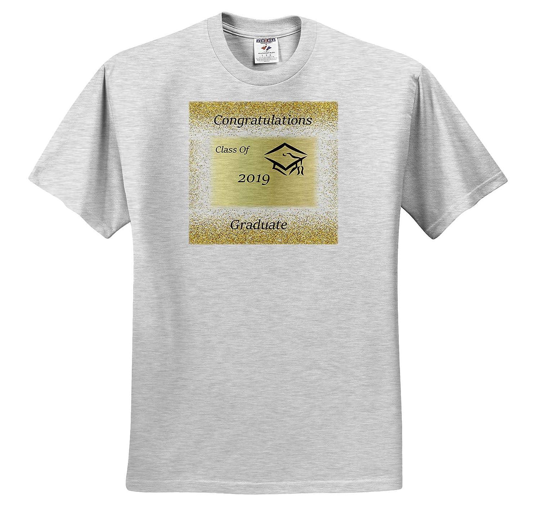 Image of 2019 Graduate On Gold Sparkle with Cap 3dRose Lens Art by Florene Adult T-Shirt XL Graduation ts/_310622