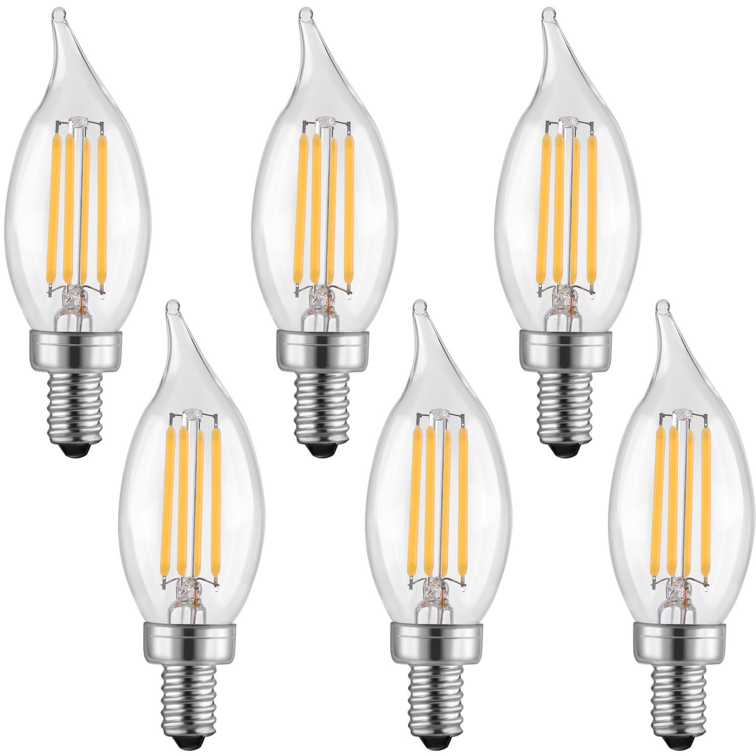 Candelabra Led Bulb: LETO CA11 4W Candelabra LED Bulbs Dimmable ,UL Listed-40W