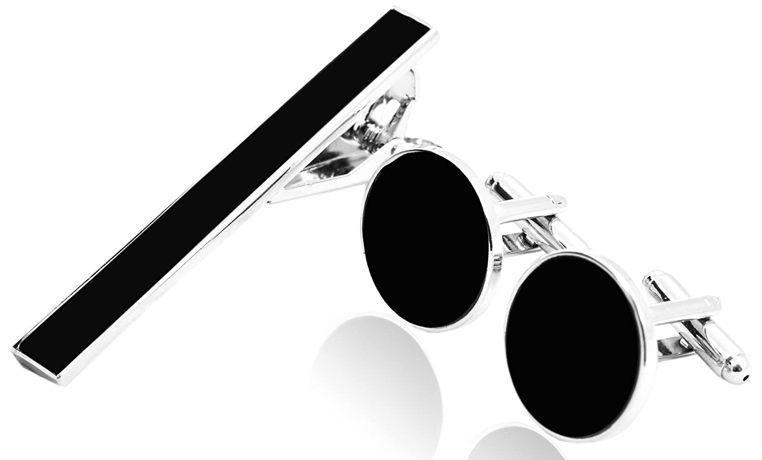 Cufflinks Set with Tie Clip for (Silver & Black Tone) Quality Choices 1