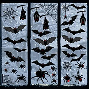 Ivenf Halloween Decorations Window Clings Decor, Large Scary Silhouette Bats Spider Kids School Home Office Accessories Party Supplies Gifts, 6 Sheet 59pcs