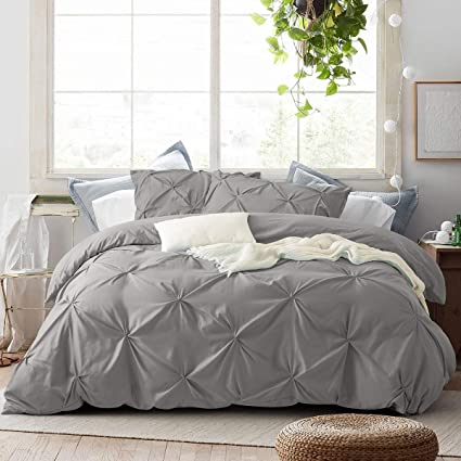 ARTALL Bedding Duvet Cover 2 Piece Set, Pinch Pleat Duvet Comforter Cover Bedding Sets Brushed Microfiber with Zipper Closure, Gray, Twin Size