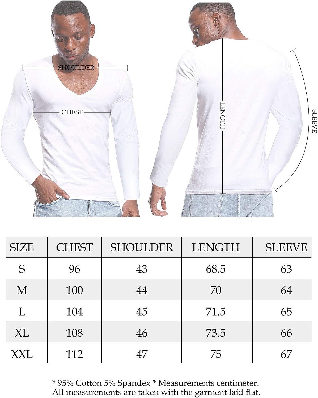 Deep V Neck Shirts Men Long Sleeve Stretch T-Shirt Low Cut Undershirts Tees