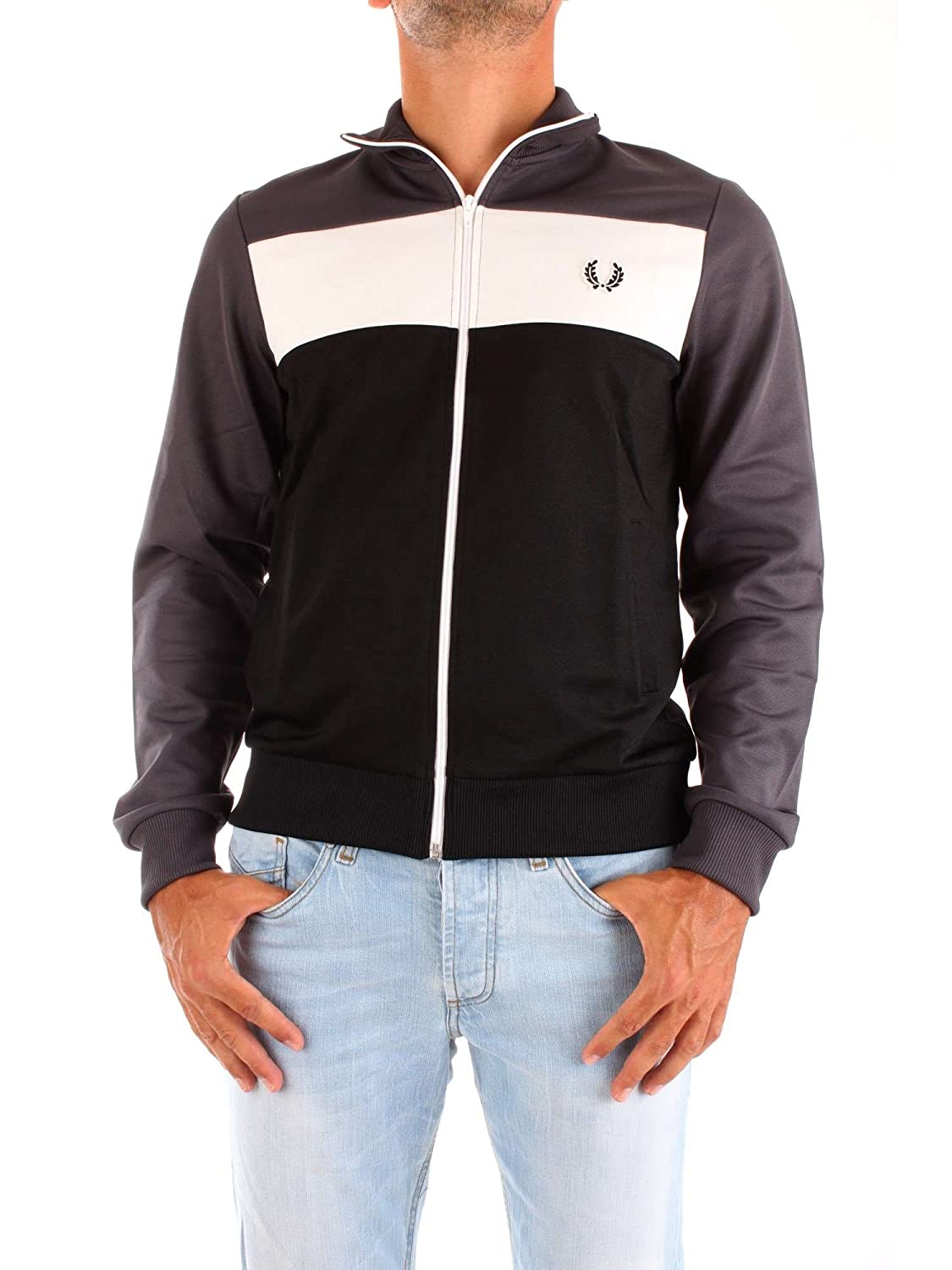 Fred Perry Men's Colour Block Track Jacket Gray