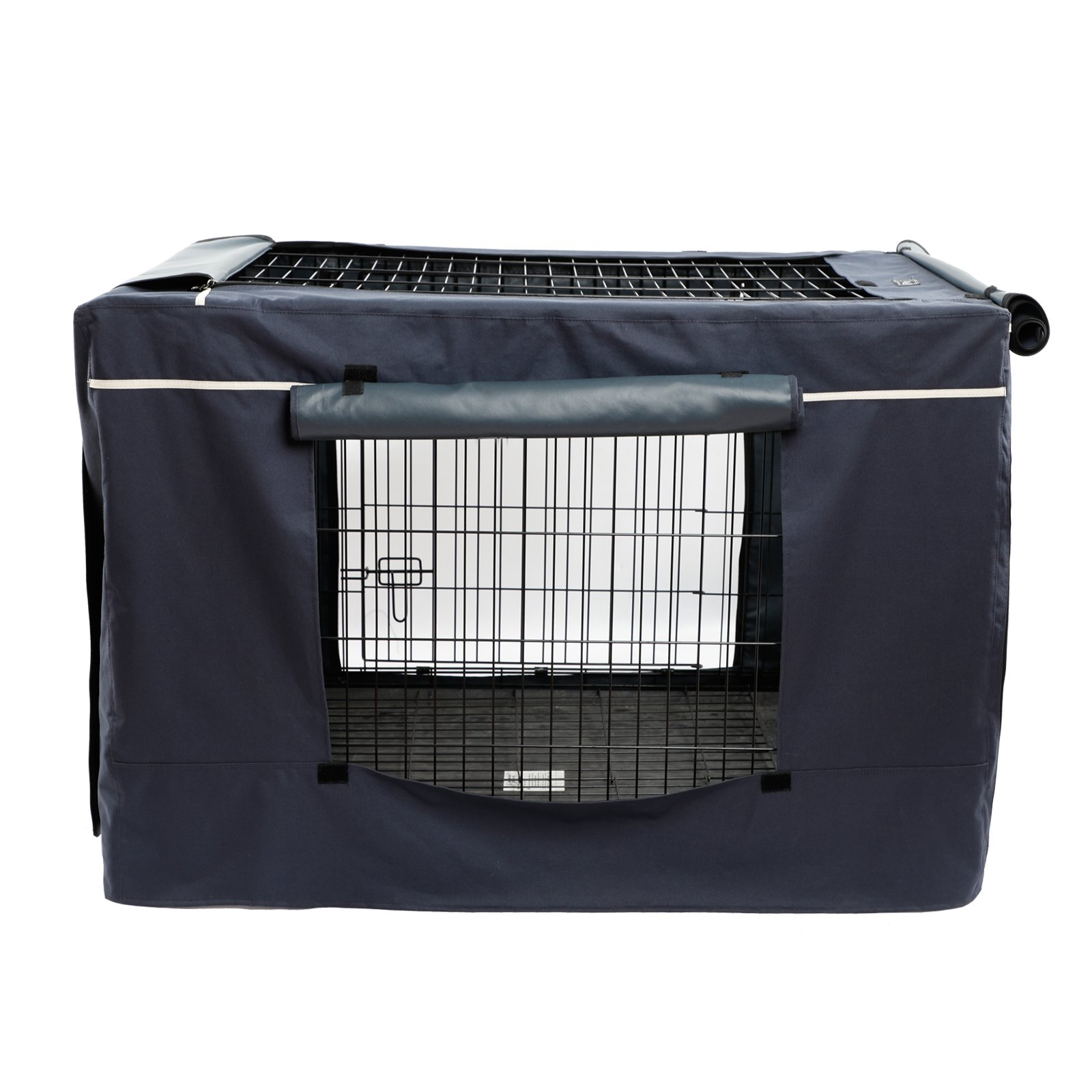 """Petsfit Oxford Cloth Pet Kennel Cover for Wire Dog Crates 42""""L x 28""""W x 30""""H, With Three-Side and Top Windows, Back Zipper, Dark Blue by Petsfit (Image #5)"""