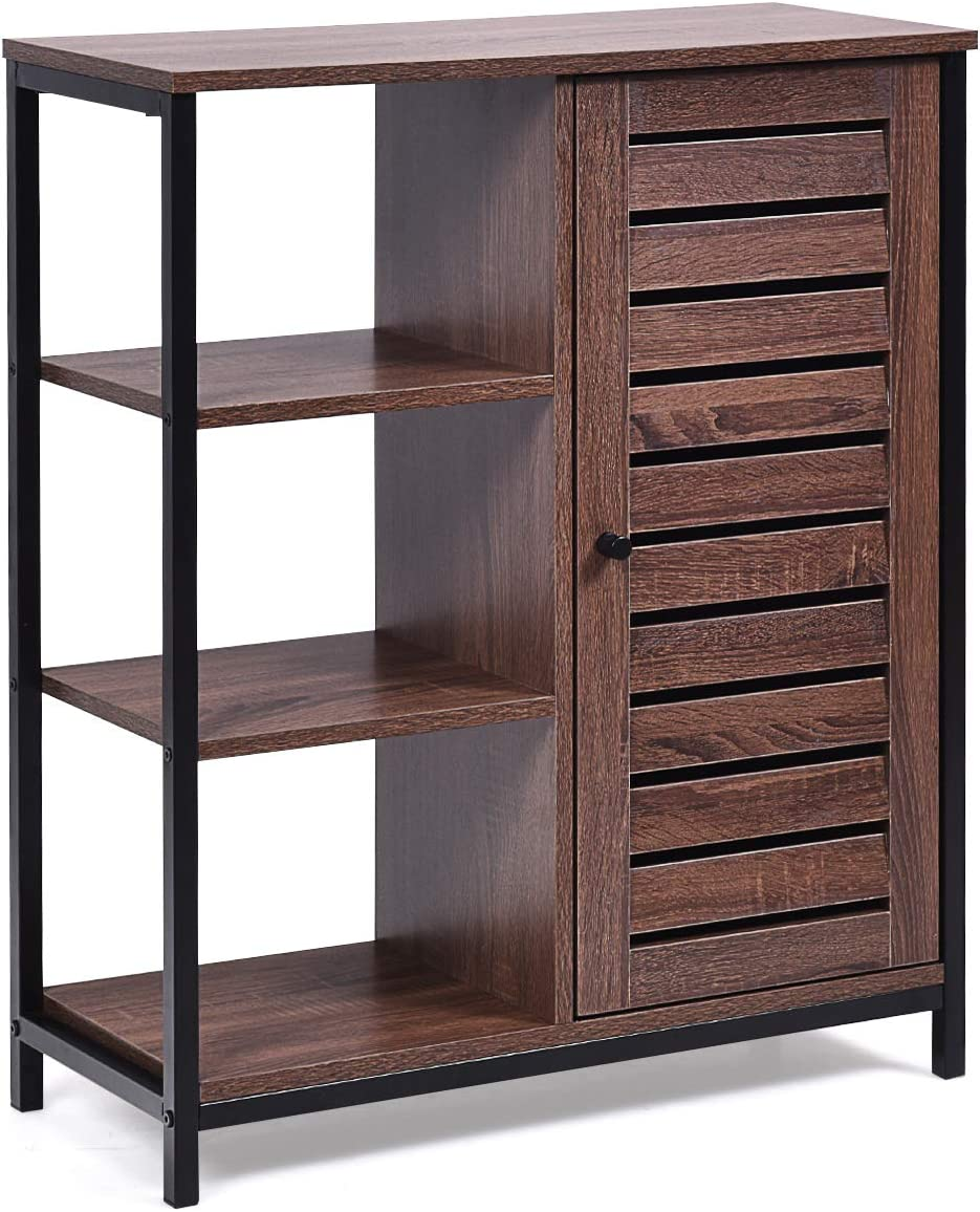 Giantex Storage Cabinet Industrial Style Sideboard with 3 Shelves and Cupboard Living Room and Hallway Rustic Brown Multipurpose Organizer for Bathroom