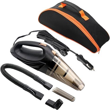MKQPOWER coche aspiradora DC12 V 106 W 3 en 1 polvo aspirador mojado/seco de mano automático con filtros HEPA, 14.7 Ft cable de alimentación y bolsa de transporte: Amazon.es: Coche y moto