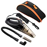 Car Hoover,MKQPOWER Auto Hoover DC 12-Volt 106W Wet&Dry Portable Handheld Auto Vacuum Cleaner, 16.4FT(5M) Power Cord with 2 HEPA Filters, One Carry Bag, One Interior Car Detail Duster (Black)