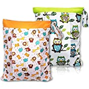 BONTIME Wet Bag for Cloth Diapers - Double Pockets & Antislide Zippered Wet Dry Diaper Bags,12 x 16 ,2-Pack,