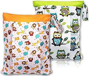 cdfa137ed7bd BONTIME Wet Bag for Cloth Diapers - Double Pockets   Antislide Zippered Wet  Dry Diaper Bags