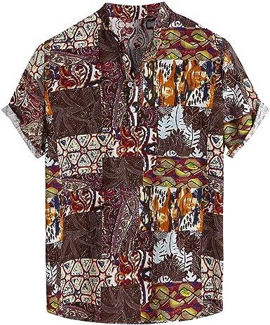 ACEBABY Camisa Hawaiana Hombre Moda Original Manga Corta Algodón ...