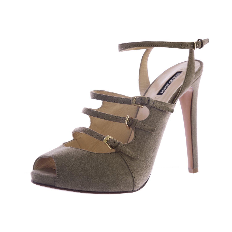 Giorgio Armani Women's Suede Ankle Strap Pumps 7 Khaki