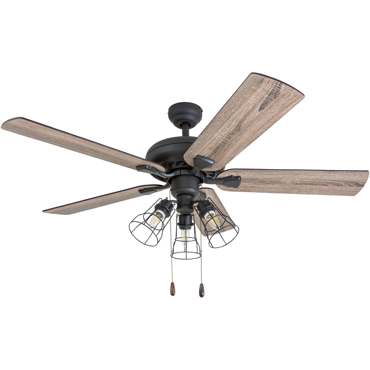 Prominence Home 50745-01 Lincoln Woods Farmhouse Ceiling Fan (3 Speed Remote), 52