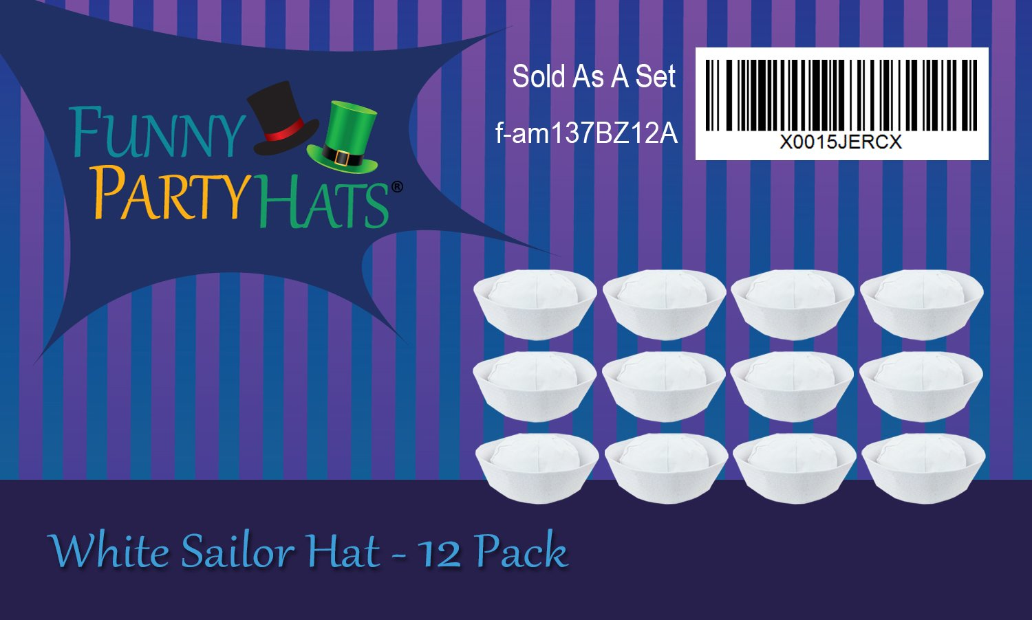 Funny Party Hats Yacht Hat - White Sailor Hats - Sailor Costume Hat by by Funny Party Hats (Image #6)