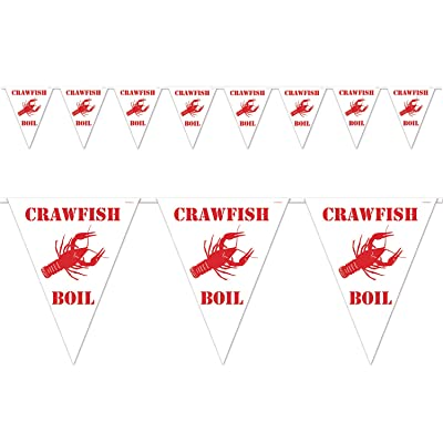 Beistle Crawfish Boil Pennant Banner, 10 by 12-Feet, White/Red: Kitchen & Dining