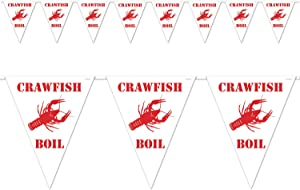 Beistle Crawfish Boil Pennant Banner, 10 by 12-Feet, White/Red