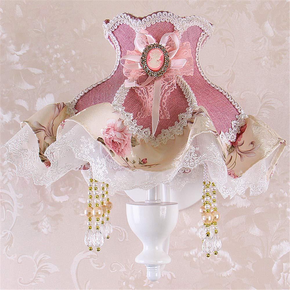 ACCEY Im ländlichen Stil Stoff Wandlampe kreative Prinzessin Mädchen Raum Hochzeit Zimmer warme Nachttischlampe Schlafzimmer Wandlampe Wandlampe