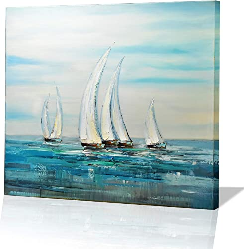 Mozing Wall art Oil Paintings 100 Hand Painted Art Sailboat On Canvas Modern Scenery Artwork Decorative Pictures For Home Living Room Bedroom Office 19.7×19.7Inch