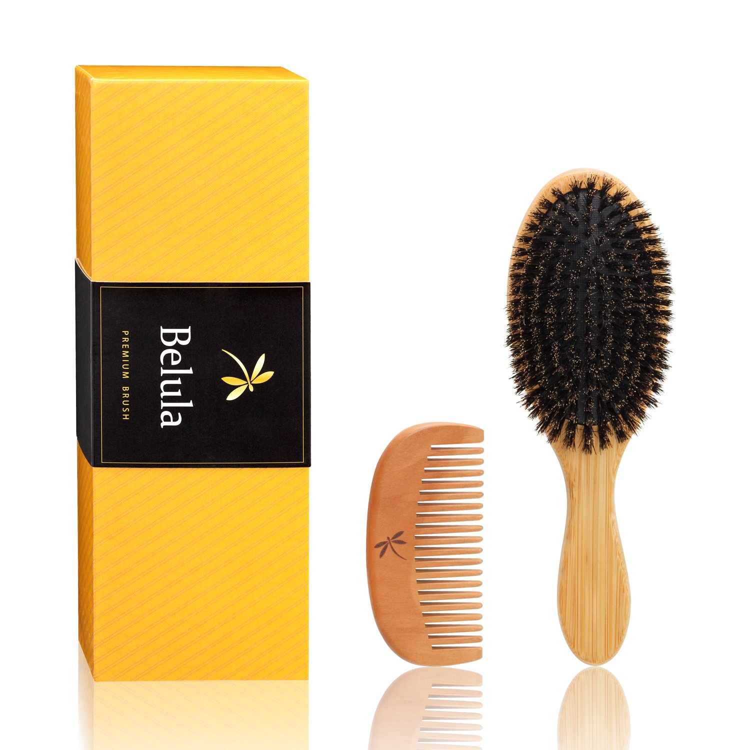 Natural Boar Bristle Hair Brush Set for Women, Men and Kids With Thin, Normal And Fine Hair. Restore Shine And Texture To Your Hair. Wooden Comb, Travel Bag and Spa Headband Included! Belula Care