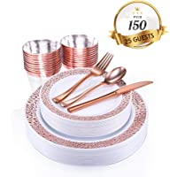 150-Piece Jolly Chef Rose Gold Dinnerware Set with Plastic Silverware