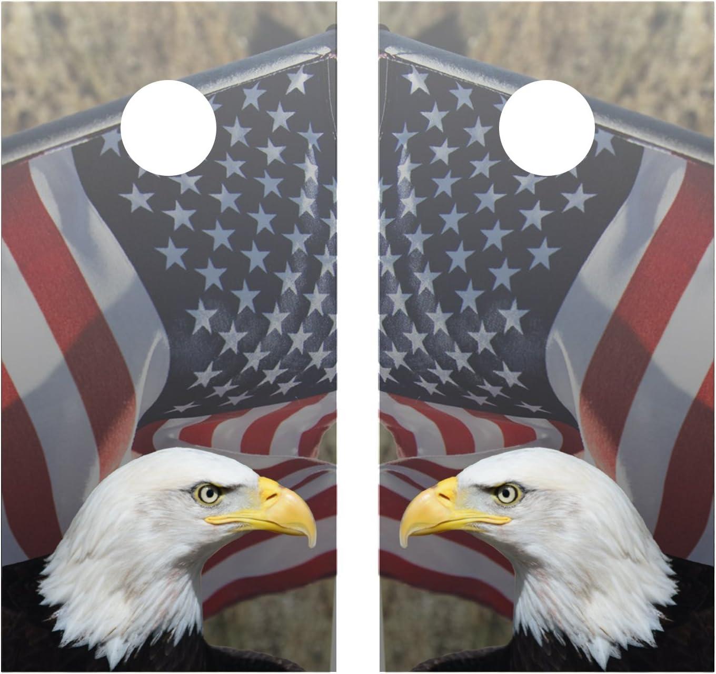 American Flag and American Eagle Cornhole Decal Wrap Set