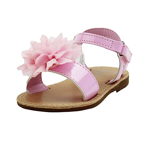 ac75391a3 Stepping Stones Girls Pink Sandals With Flower and Ankle Back Straps Slide  Style Open Toe Hardsole