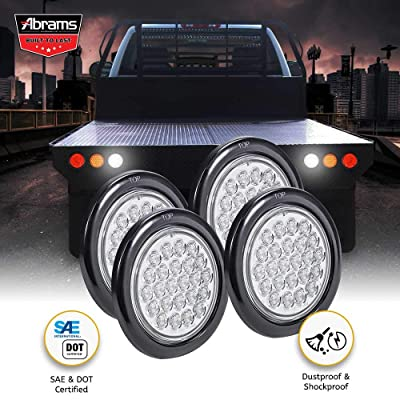"4"" Inch White LED Trailer Tail Light - DOT Certified Round Truck Reverse Back Up Light IP67 Waterproof RV Jeep Semi Truck Taillight 24 Bright LEDs With Colored Lens, Grommet & Plugs Included - 4 Pack: Automotive"