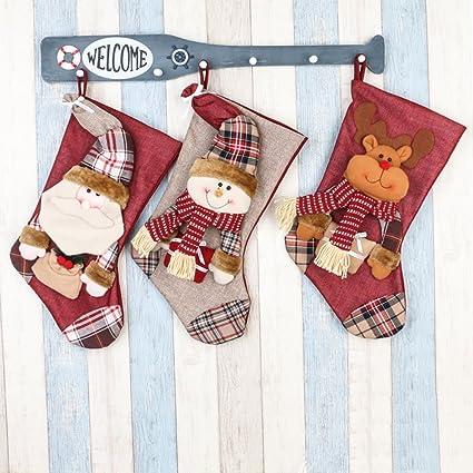 showpower feliz juego de medias de Navidad personalizadas adorno de decoración chimenea tamaño grande (de
