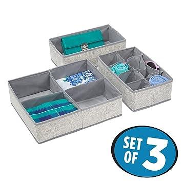 mDesign Juego de 3 cajas para armarios y cajones - El organizador de ropa interior y calcetines perfecto - Cajas de tela versátiles con varios ...