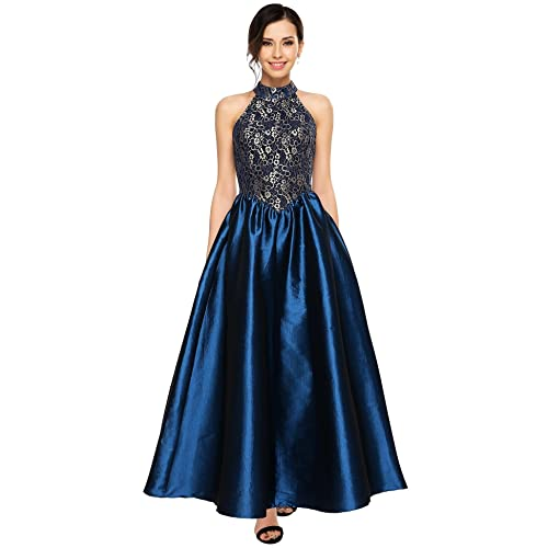 ANGVNS Womens Halter Floral Lace Evening Ball Gown Long Formal Party Prom Dress