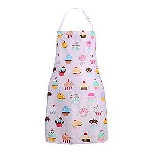 Zeronal Bib Apron Adjustable Extra Long Ties for Women, Men, Chef, Kitchen, Home, Restaurant, Cafe, Cooking, Baking, Gardening, Cute Pink Cupcake Funny Design