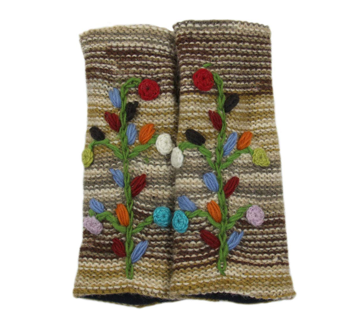 Hand Knit 100% Wool Fleece Lined Hand Warmer/Glove (BROWN/BEIGE/MULTI)