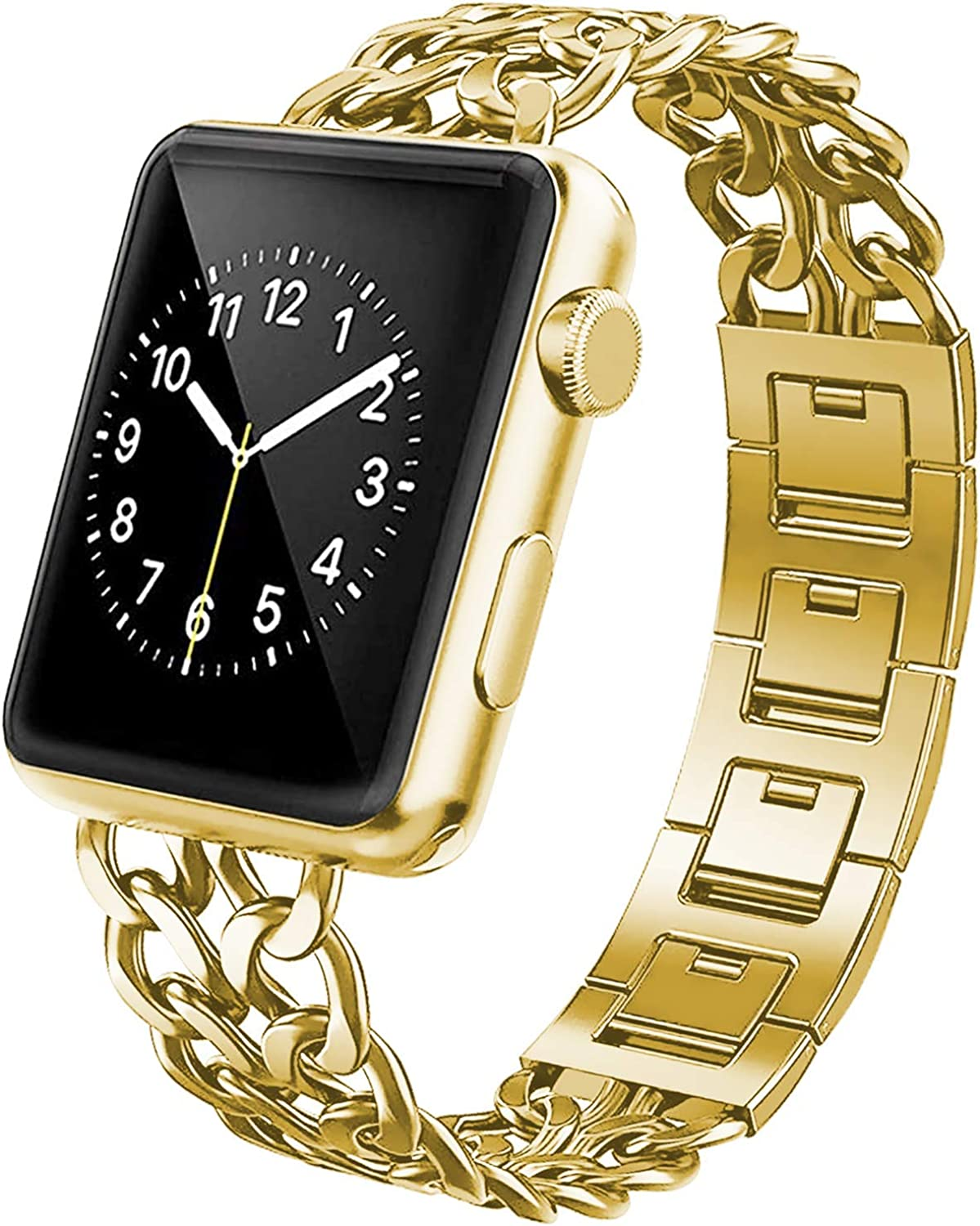 YEAPREE Chain Metal Bands Compatible with Apple Watch Band 44mm 42mm 40mm 38mm for Women/Man, Stainless Steel Metal Chains Strap Wristband for iWatch Series 6/5/4/3/2/1/SE