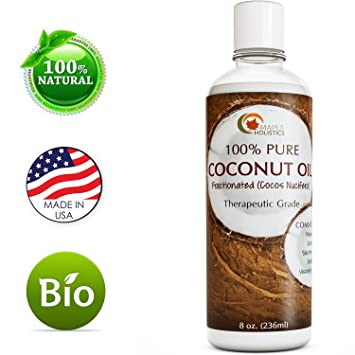 Coconut Oil for Fractionated Hair Growth and Skin - Natural Massage Oil - Anti-Aging Skin Moisturizer for Dry Skin for Men & Women - Pure Massage Coconut Oil for Pregnancy - 8oz - By Maple Holistics