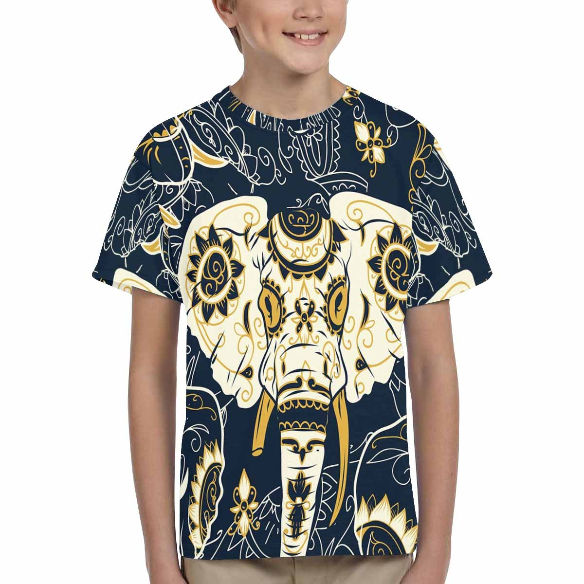 XS-XL INTERESTPRINT Kids T-Shirt Vintage Texture with Colorful Arabesques