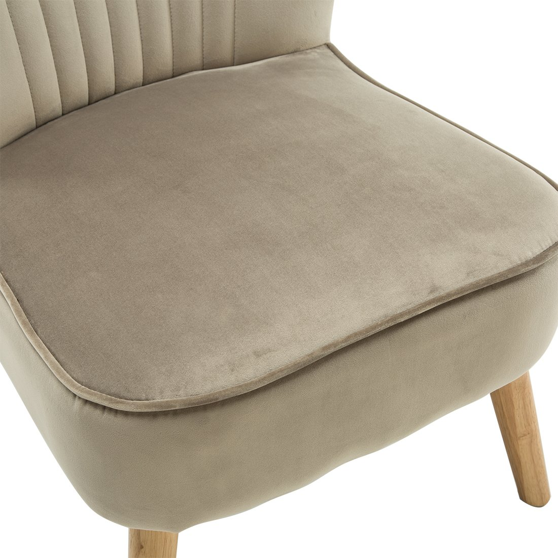 Lyssa Velvet Retro Occasional Bedroom Living Room Fabric Accent Chair Mink