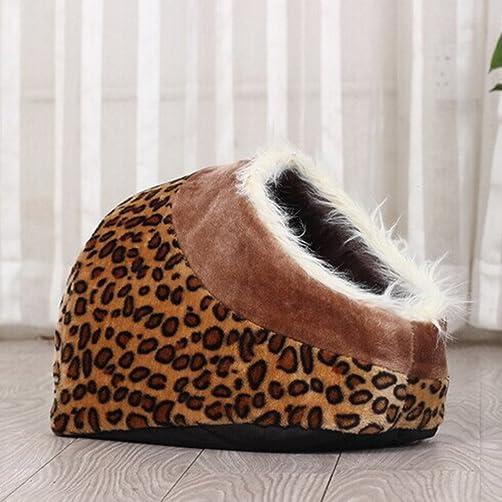 Tinksky Cotton Soft Dog Cat Pet Bed House Nest Pet plush bed Cheetah Print