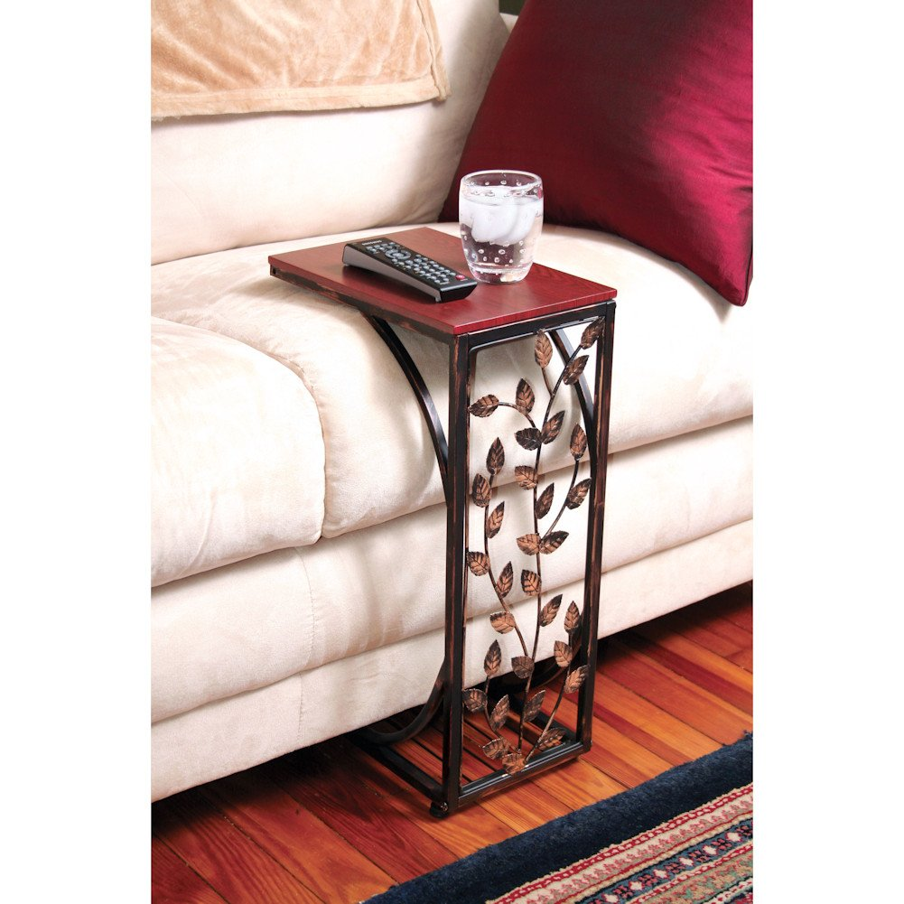 Sofa Side and End Table, Small - Metal, Dark Brown Wood Top With Leaf Design - Perfect for Your Living Room, Slides Up To Sofa/Chair/Recliner - Keep Snacks, Drinks Books & Phone At Easy Reach